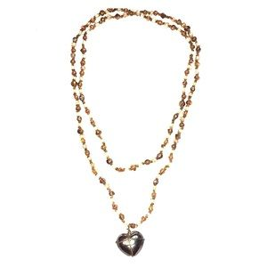 """Beaded Long Necklace Heart Pendant 36"""" Boho"""